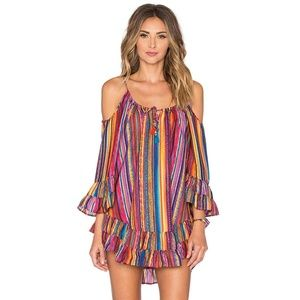 Dresses & Skirts - Spaghetti Strap Rainbow Stripe Print Mini Dress